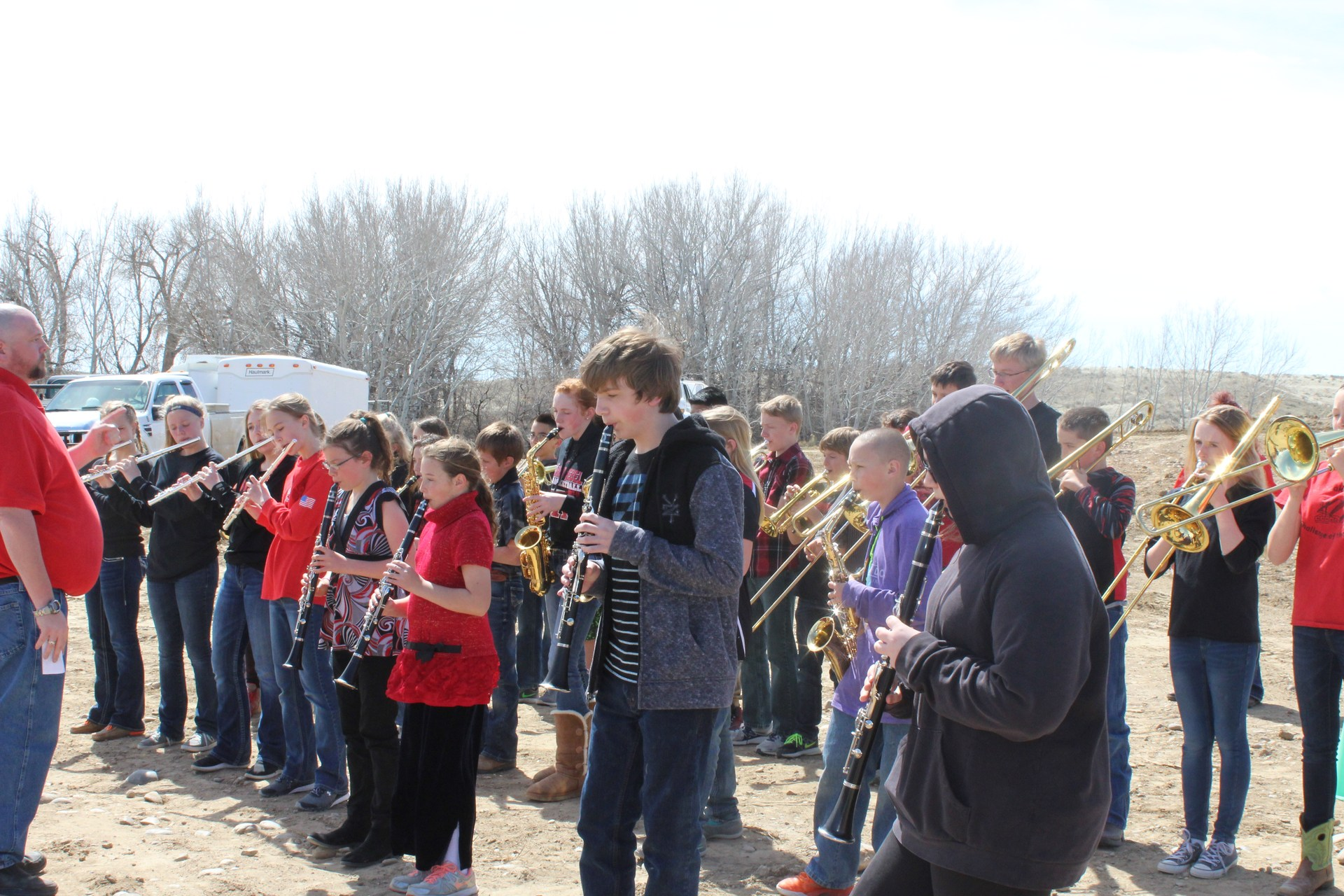 Band playing at groundbreaking ceremony