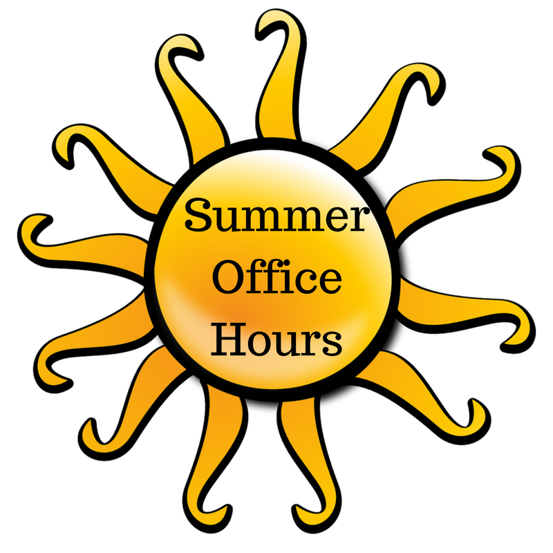 clip art of sun with summer office hours text