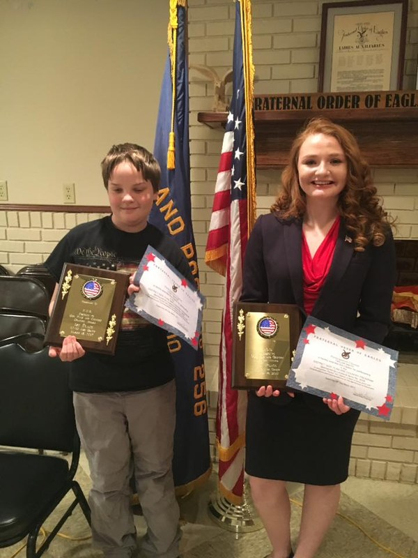 Photo of students who won God, Flag & Country contest.
