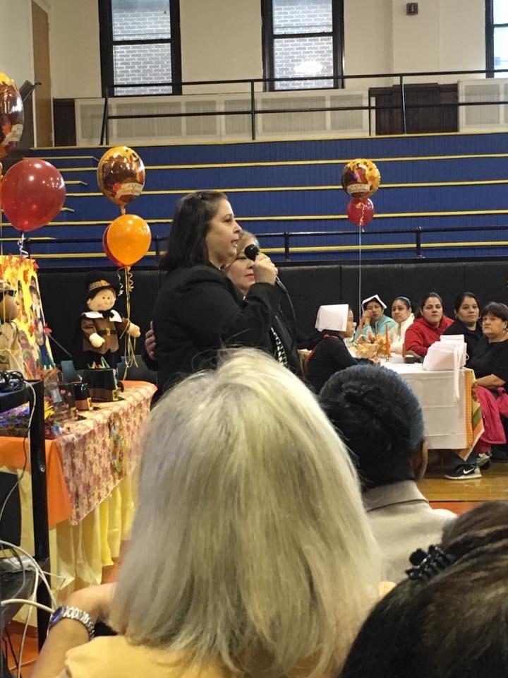 Superintendent Sivlia Abbato addressing Parents at a Breakfast Workshop