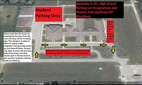 Map of Parking and Student Drop Off Area