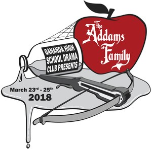 Logo for Gananda High School Drama Club's Productions of The Addams Family