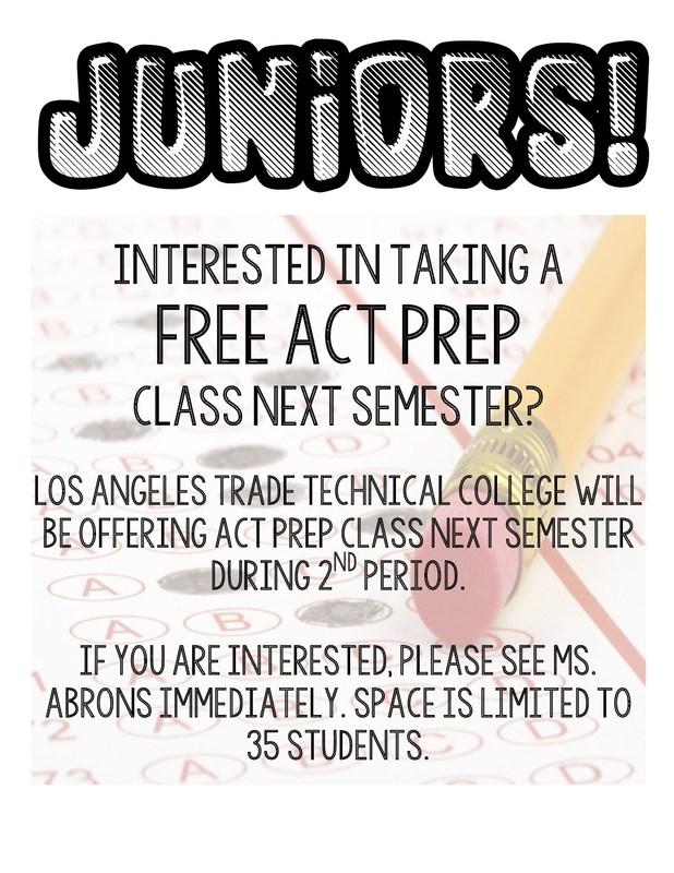 FREE ACT Prep Course Available Next Semester Thumbnail Image