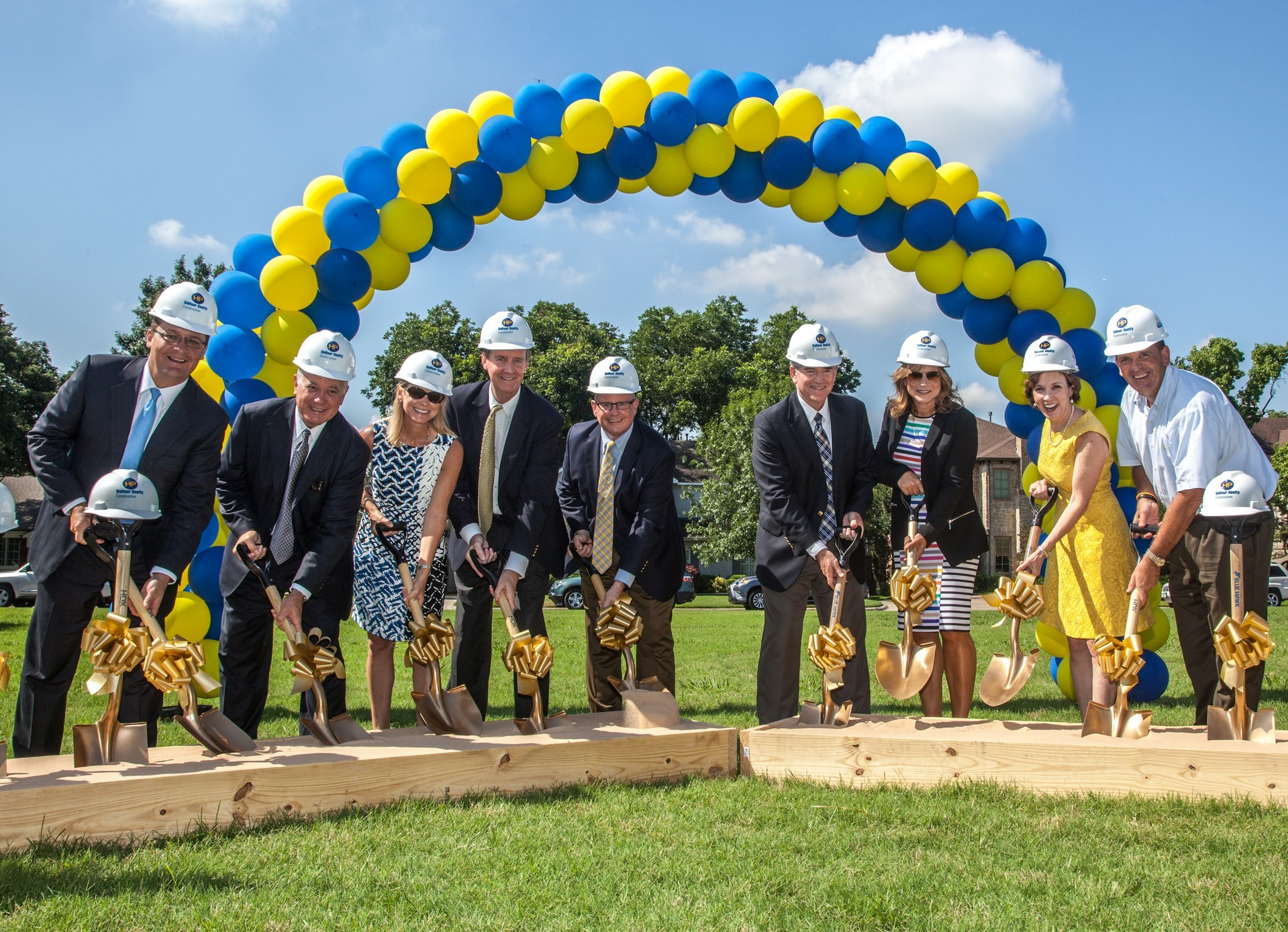 The HPISD Board of Trustees participate in the groundbreaking ceremony for the first new elementary school