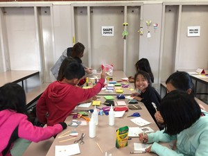 Students building shape puppets