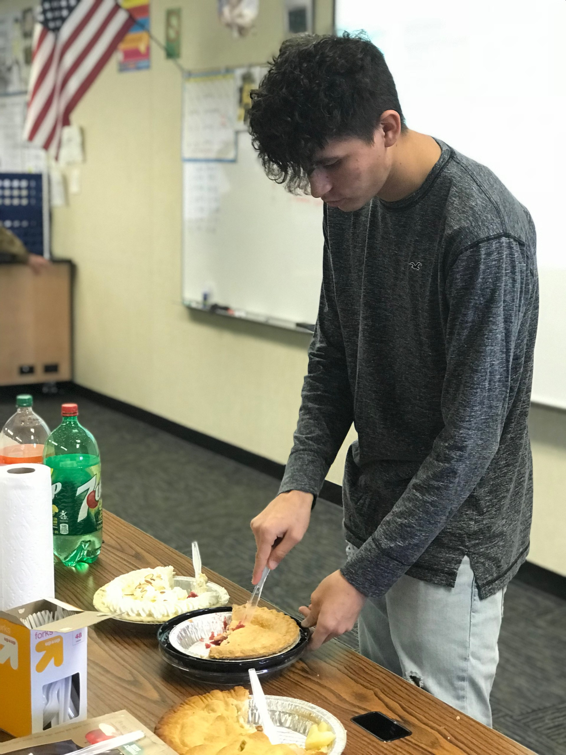 Student and pie