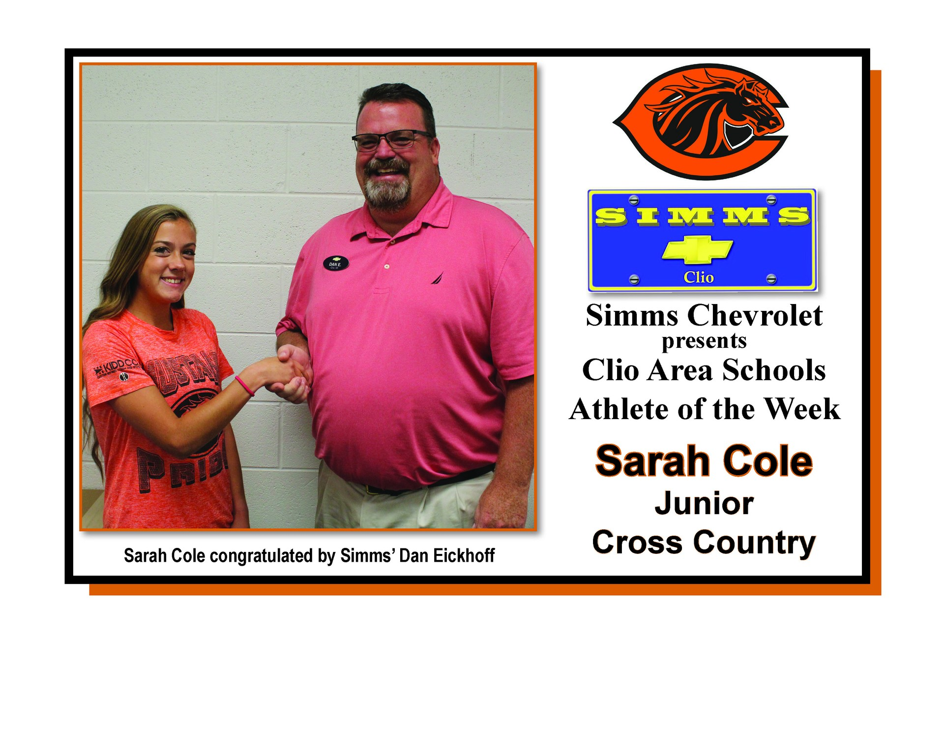 Photo of Sarah Cole receiving Simms Chevrolet Athlete of the Week honors from Dan Eickoff