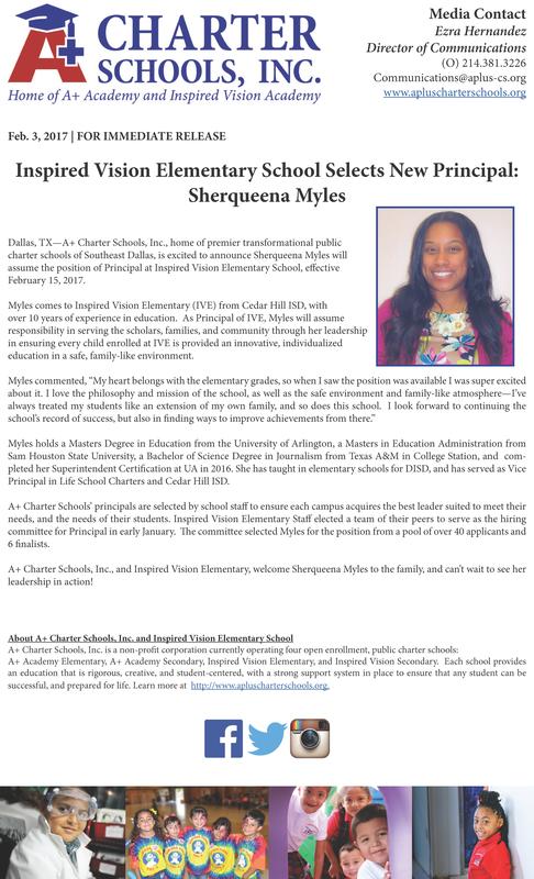 Inspired Vision Elementary Selects New Principal: Sherqueena Myles Thumbnail Image