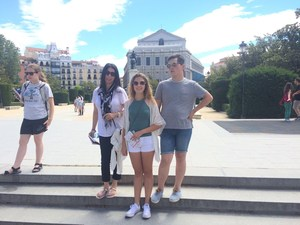 Trip to Spain (from left to right: Hannah, Ms. Ortiz, Leah, and Neo)