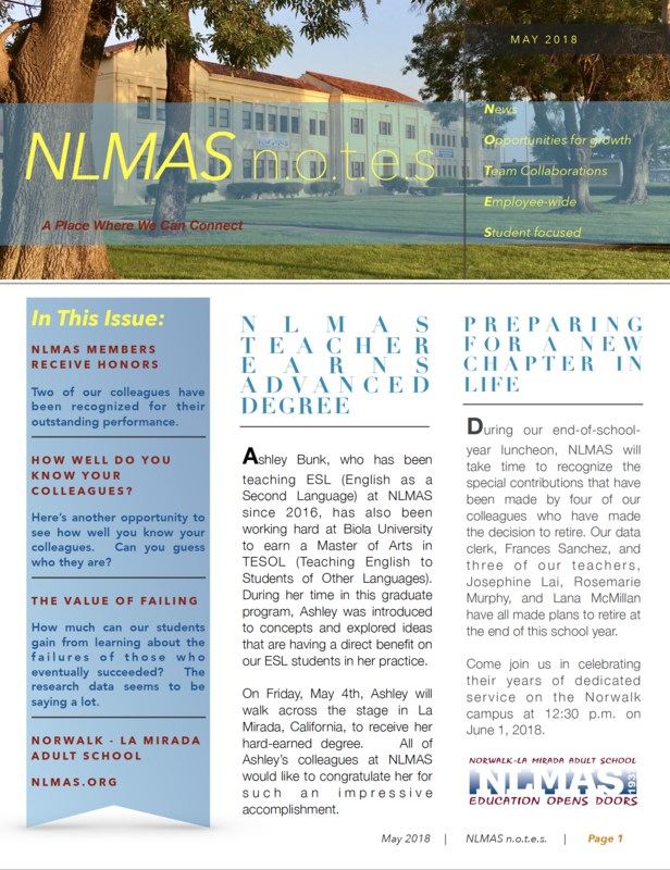NLMAS May n.o.t.e.s! Featured Photo