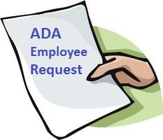 Hand in paper with ADA Employee Request typed on it