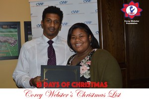 Photo of Kayla Rayford presented award certificate from Corey Webster Foundation