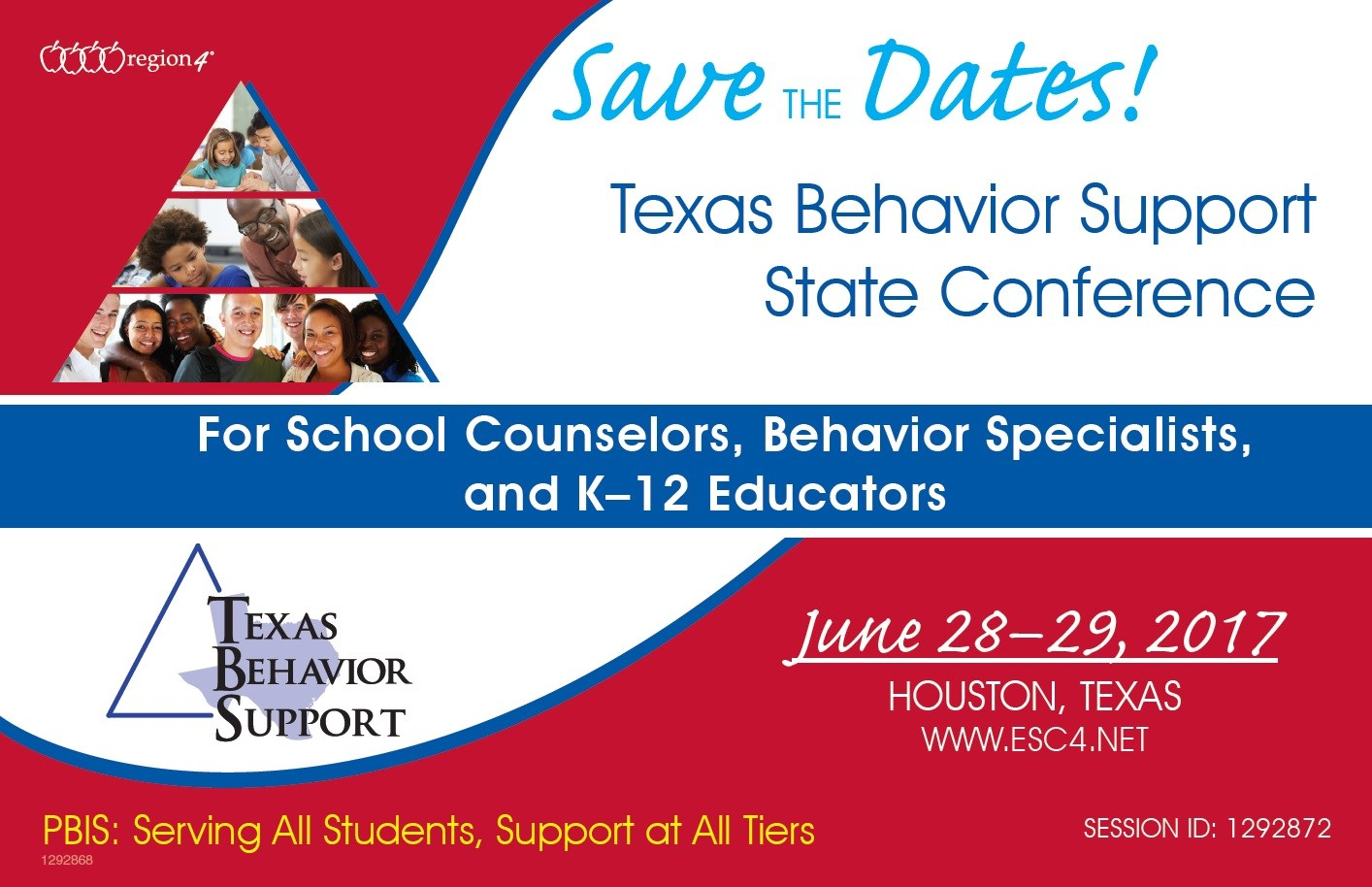 Registration information for the State Behavior Conference held at ESC 4 in Houston, Texas