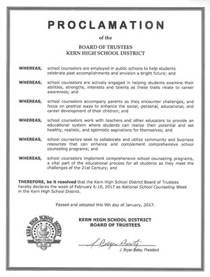 Kern High School District Proclamation for National School Counseling Week.