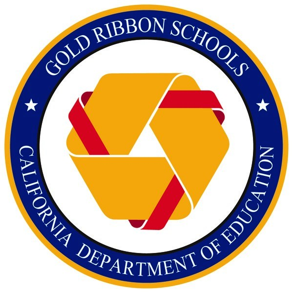 Gold Ribbon Schools logo, gold knot with red ribbon