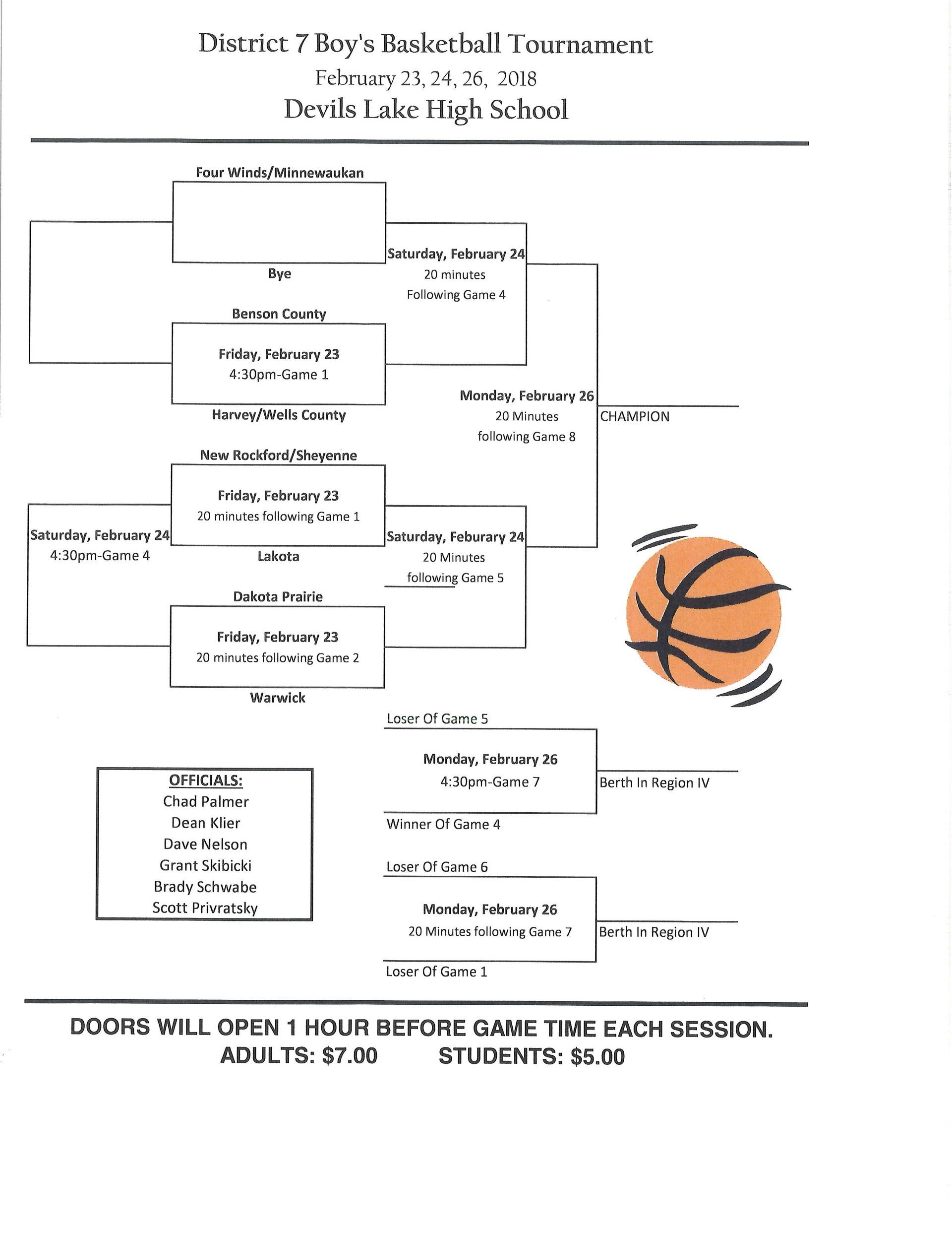 BBB District Tournament Schedule