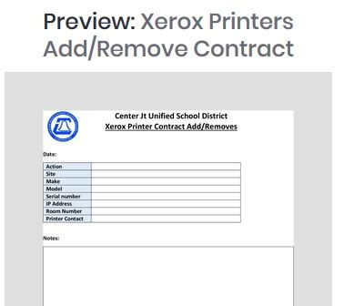 Xerox Printer Add Remove Change Form