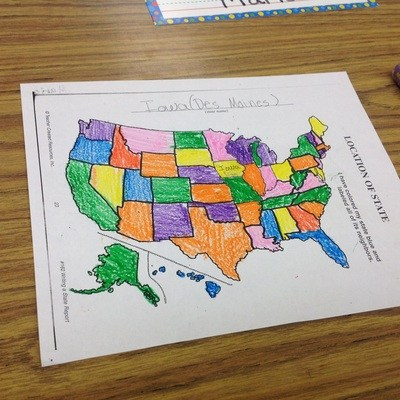 A student's colored map of the United States of America.