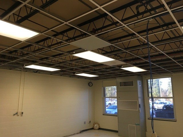 Photo of Springdale Elementary classroom windows and paint