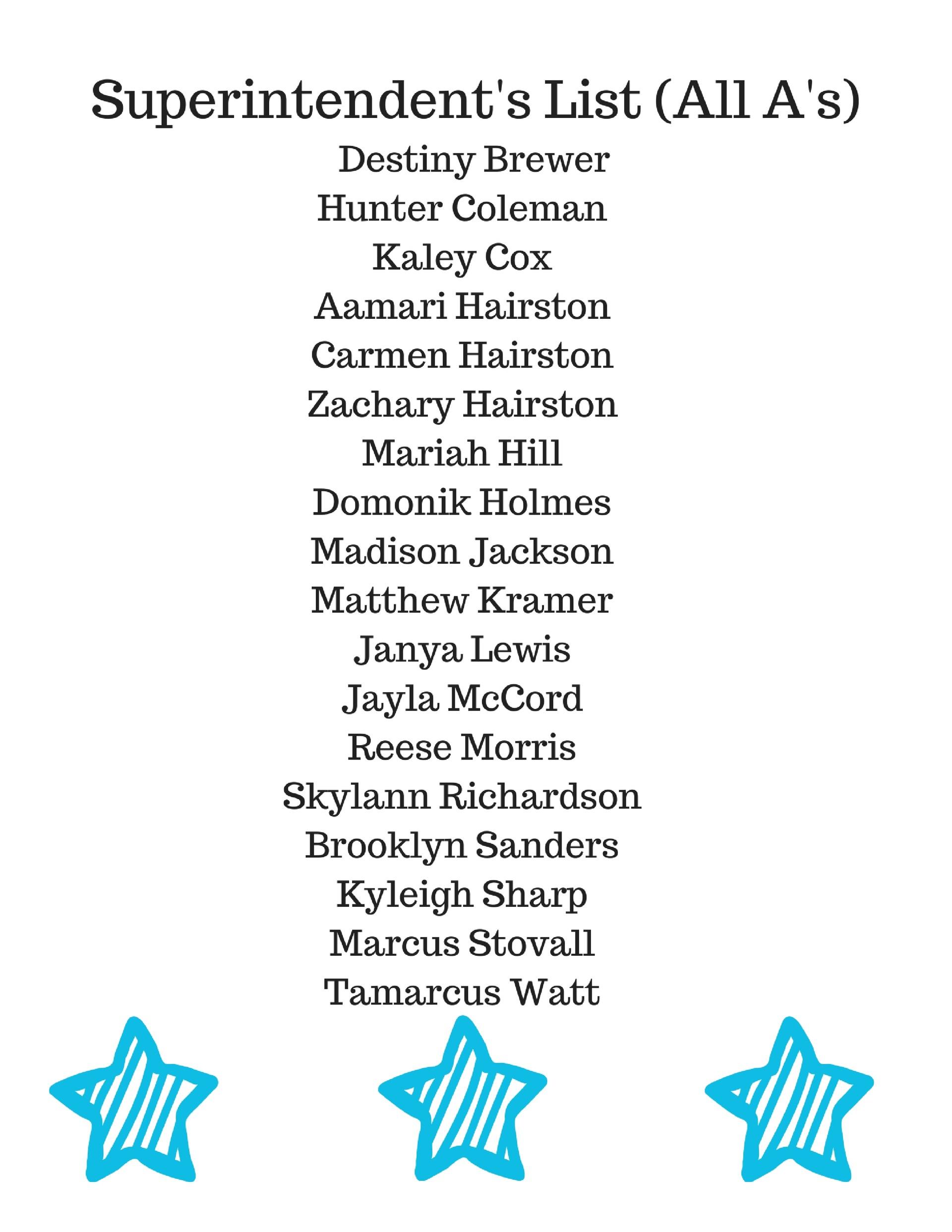 Superintendent's List