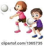 boy and girl each playing with their own volleyball