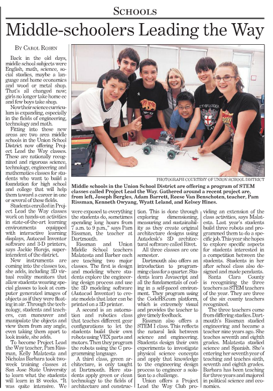 News article Team Project Lead The Way