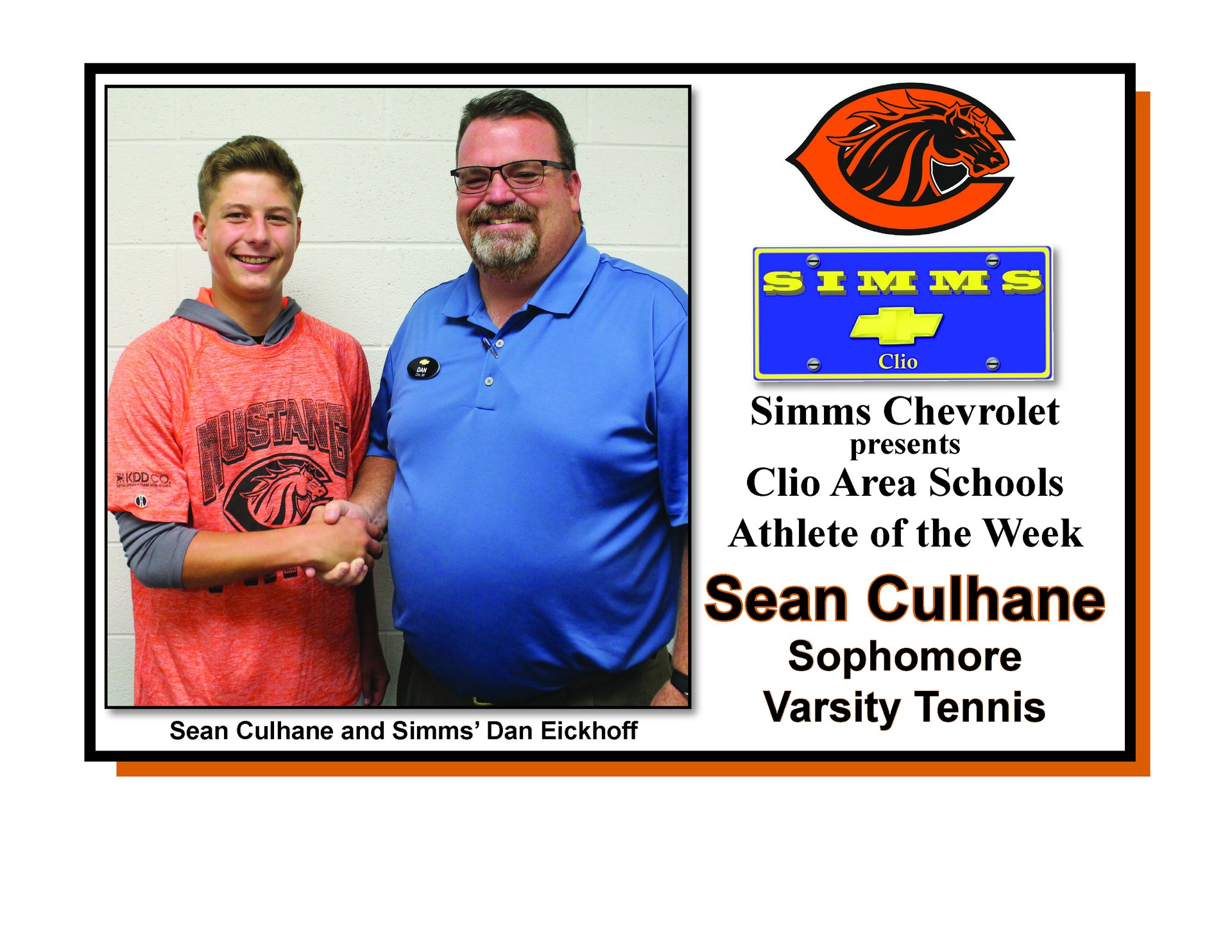 Photo of Sean Culhane receiving Simms Chevrolet Athlete of the Week honors from Dan Eickoff