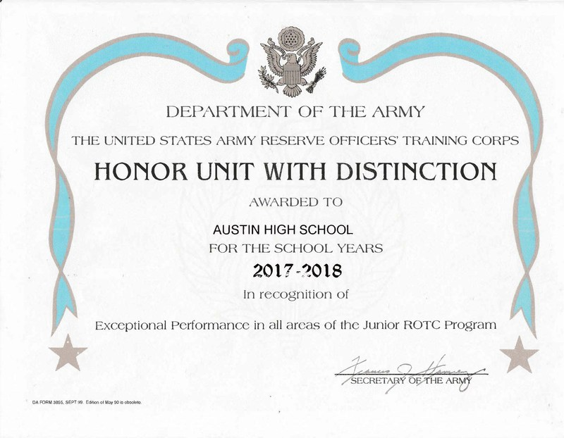 Austin JROTC Battalion Ranked in Top 20% Nationally Featured Photo