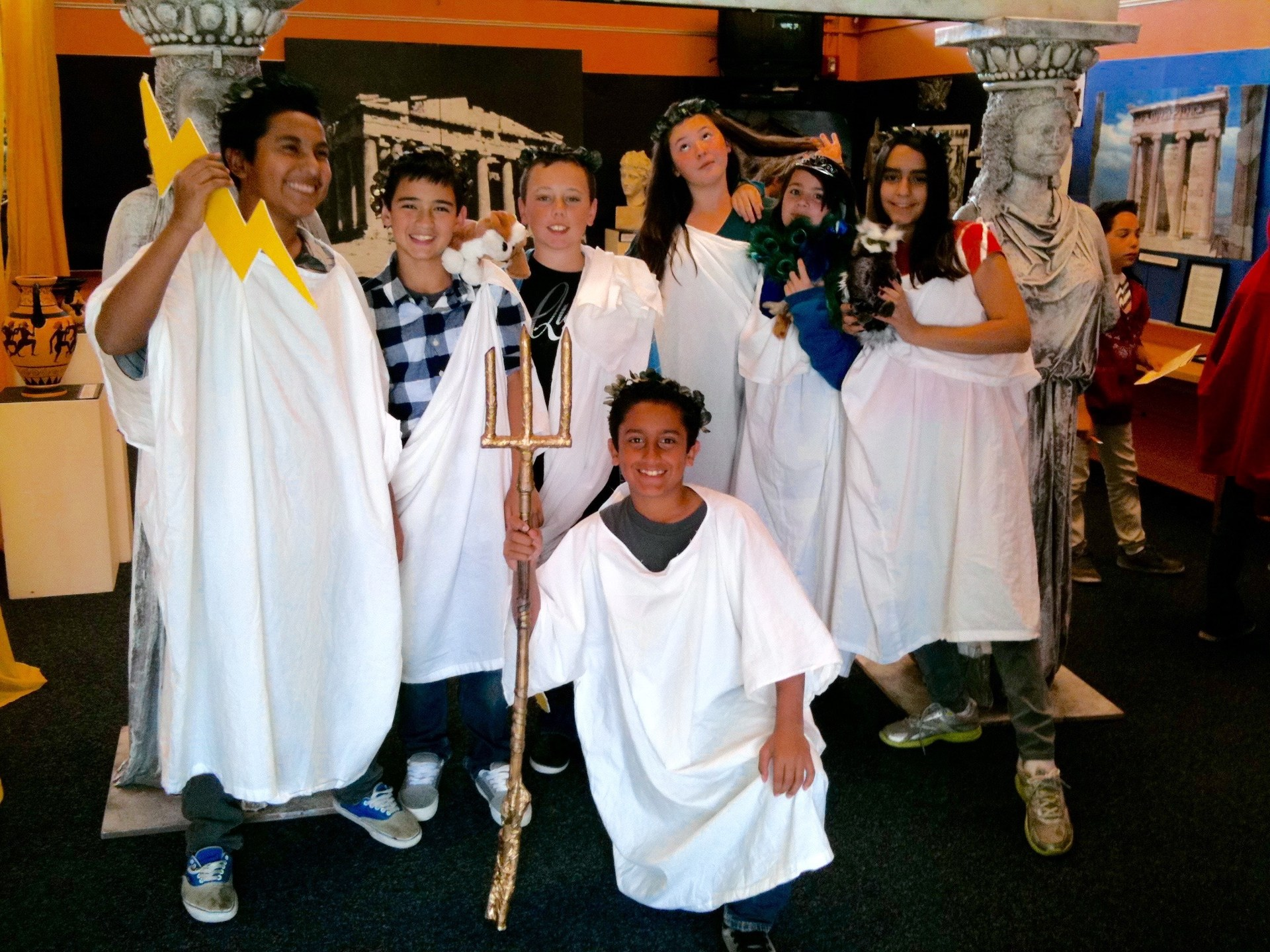 Students dressed as Greek Gods in the Creativity Center.