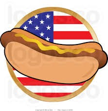 Hot dog with american flag