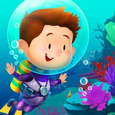 Boy with Bubble around head underwater with marine life