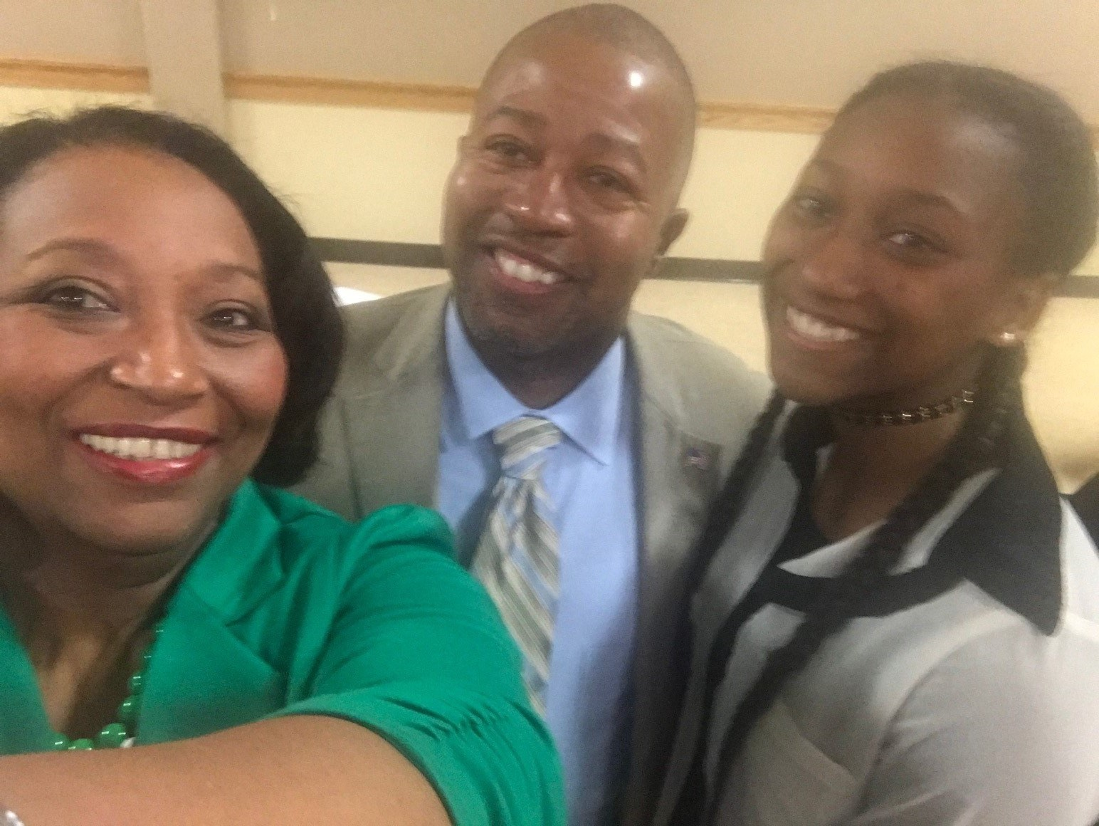 All smiles as Superintendent Mr. Patrick Jenkins meets Jyhreh Johnson