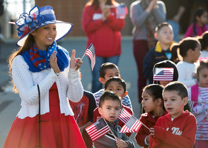 Ceres Elementary teacher and students celebrate Veteran's Day