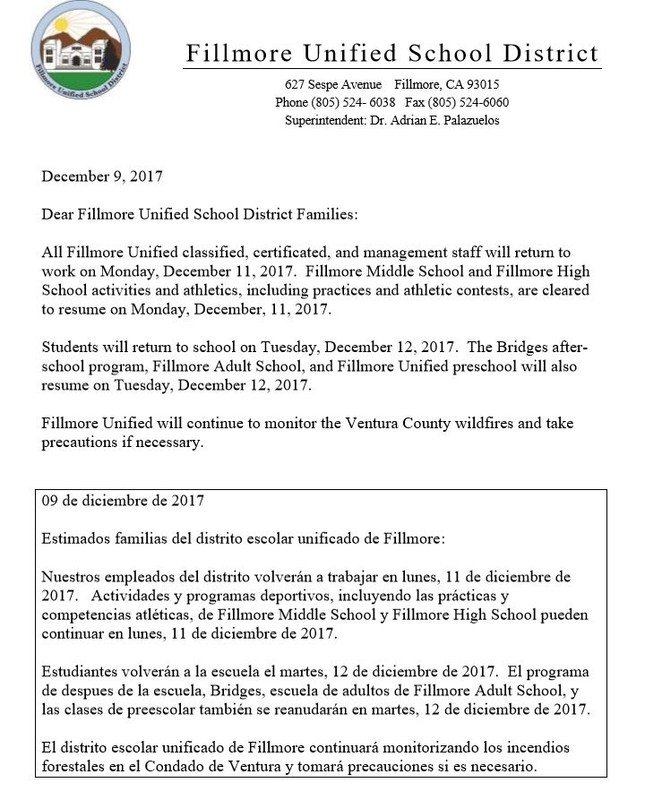 Fillmore Unified School District Schedule for Reopening of Schools Featured Photo