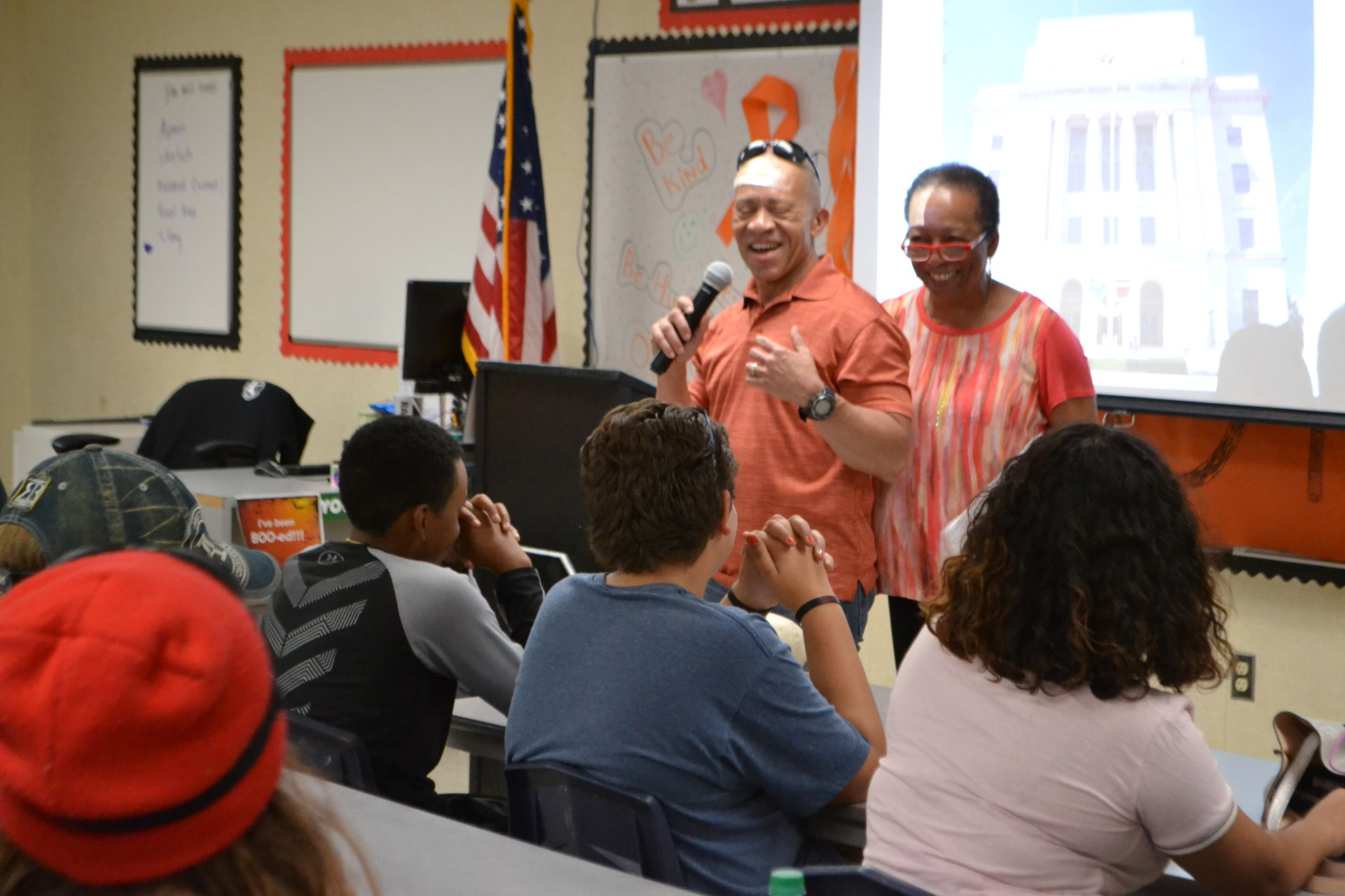 Photo: Patricia and Bobby Burns, Jr. speaking to Sequoia students
