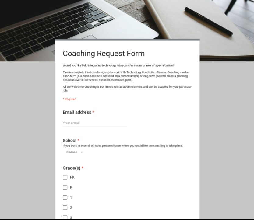 Photo of Coaching Request Form