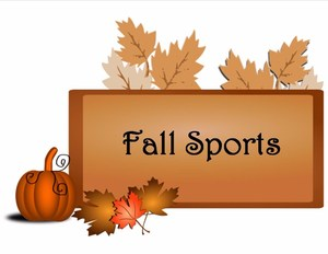 Fall Sports banner with pumpkin and leaves