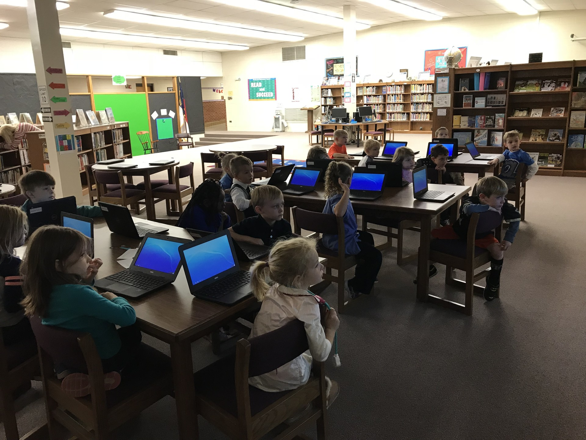1st graders using chromebooks at Northwest.
