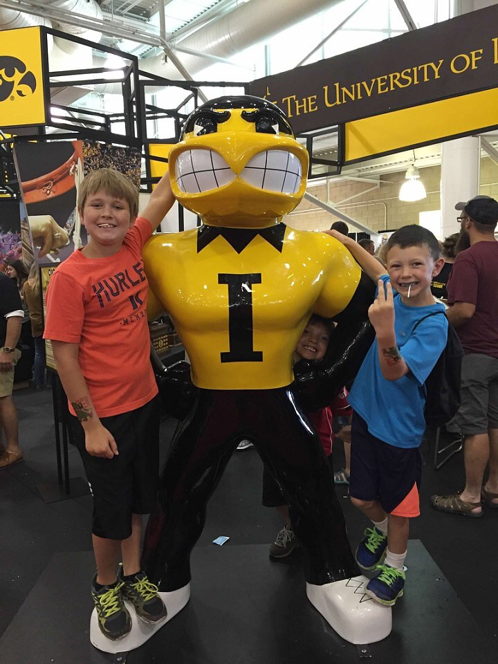 All three boys supporting Iowa at the State Fair.