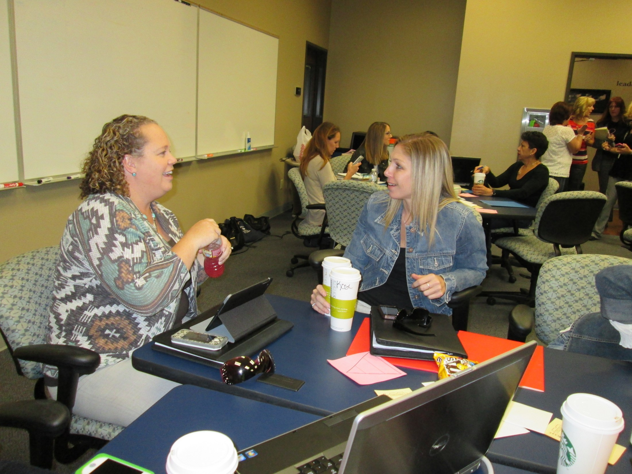 Teachers discuss the training in which they are participating.