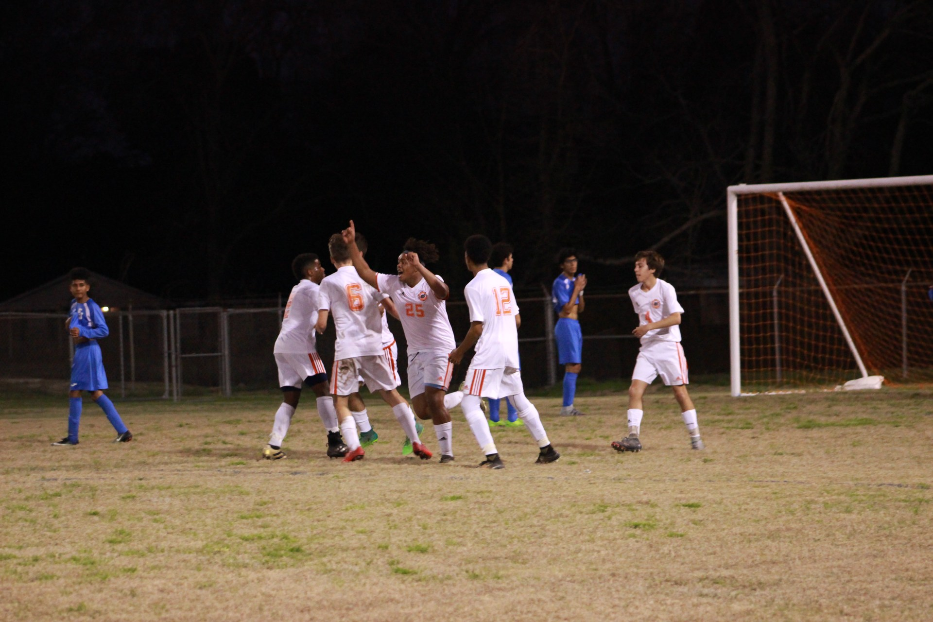Latrell B. show excitement after the goal the team made.