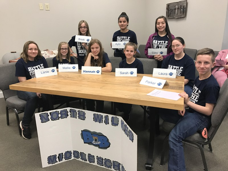 Congratulations to the Battle of the Books team! North Middle team won 1st place in County Battle of the Books competition. This qualified them to participate in the regional competition on March 30, 2017 placing 4th in the entire region! Thumbnail Image