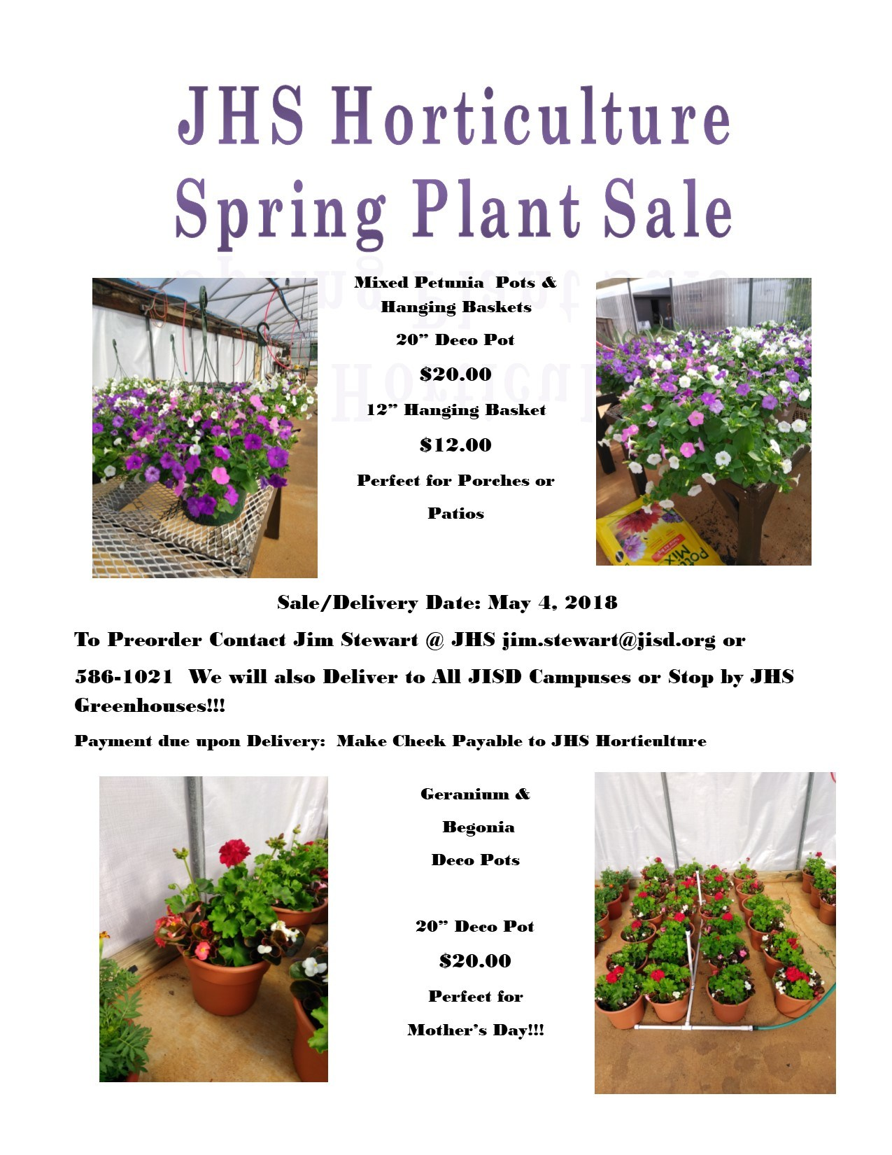 flyer for plant sale for JHS Horticulture