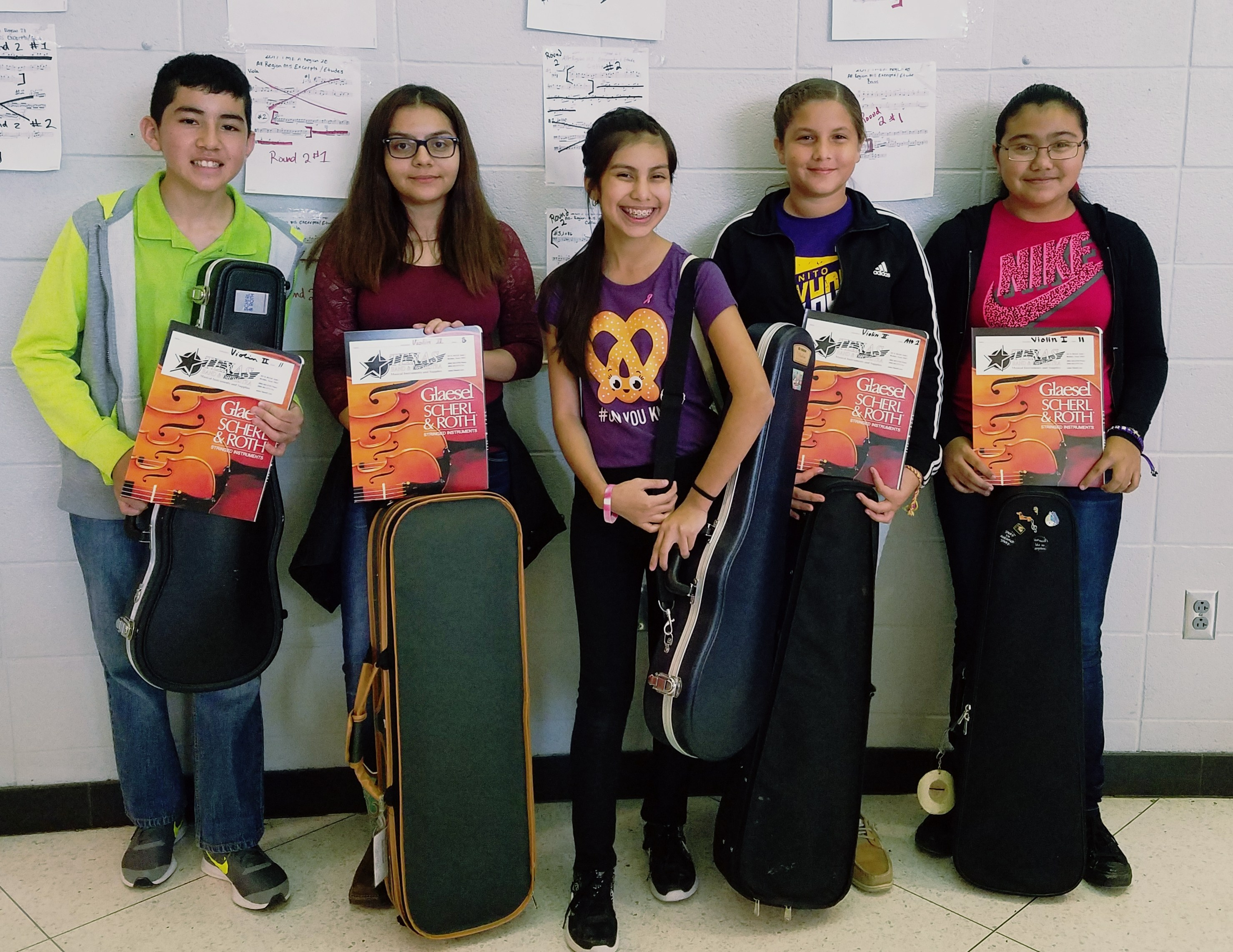 Orchestra students Israel Valdez, Kathy Rojas, Melissa Gonzalez, Cristian Rodriguez and Yarellie Rodriguez competed for All-Region placement.