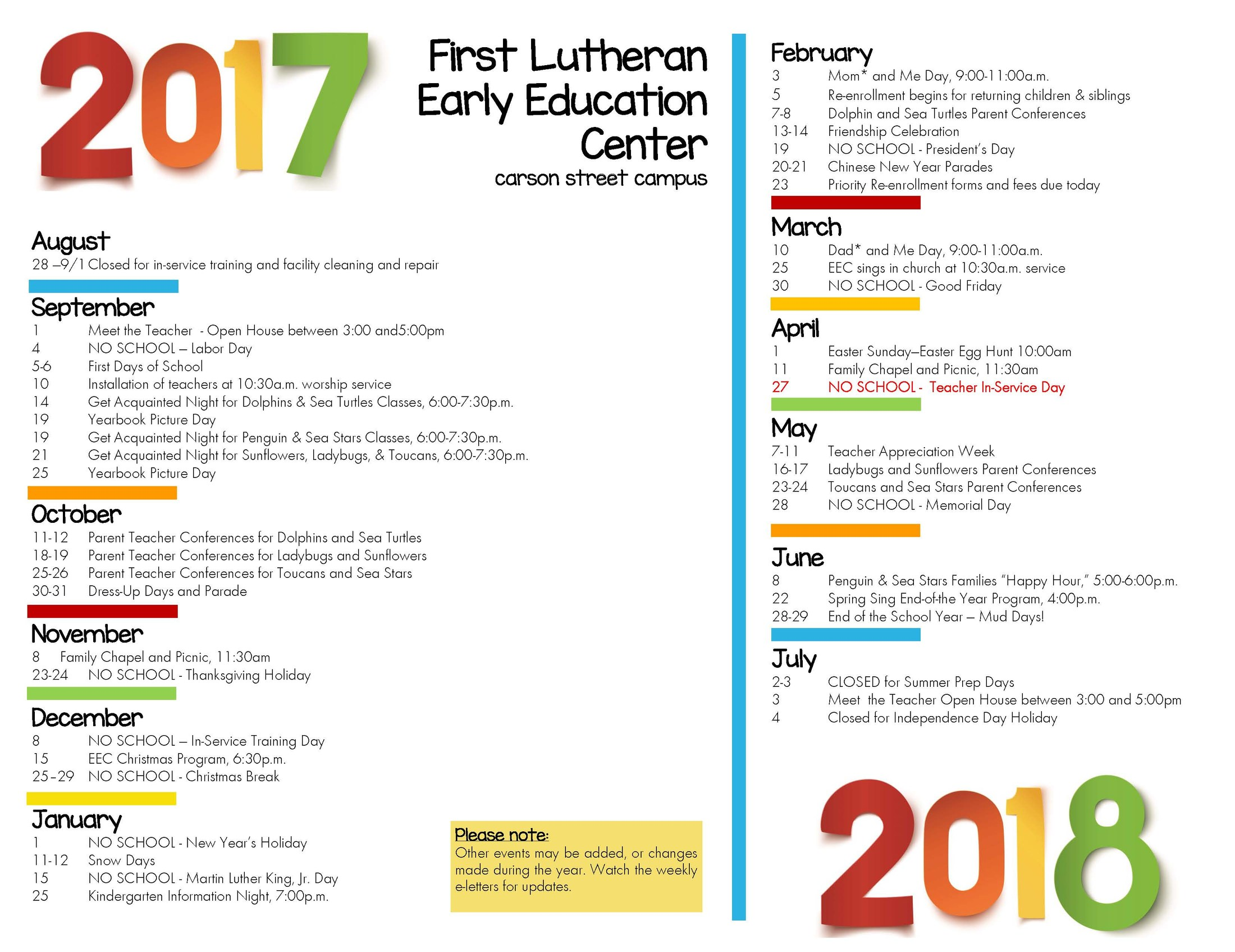 Our yearly calendar eec parents first lutheran church and school our yearly calendar thecheapjerseys Choice Image