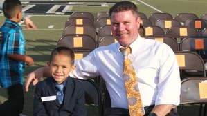 Noah Bazaldua with his Principal Jeffrey Keeny