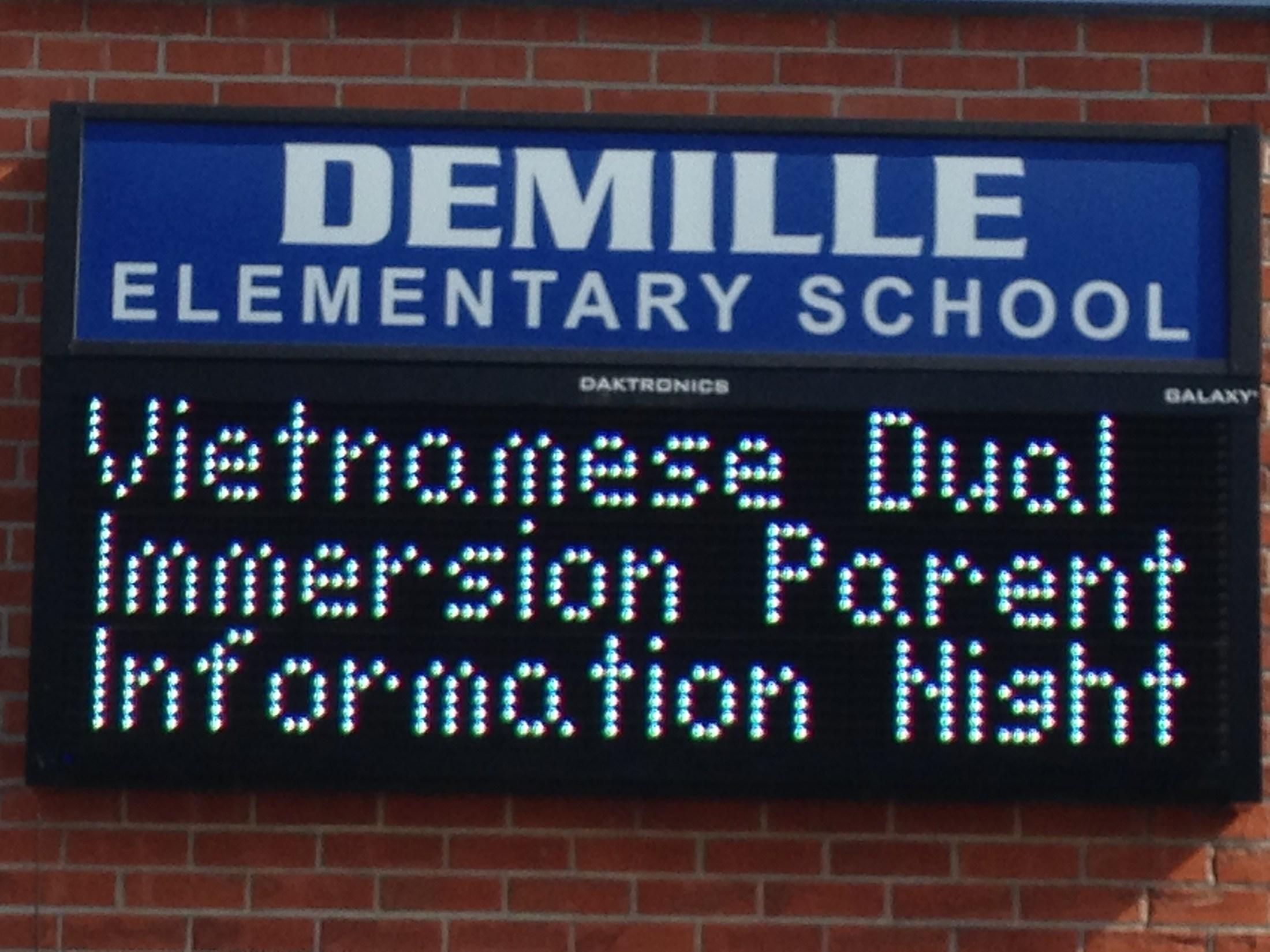 DeMille Elementary School Marquee
