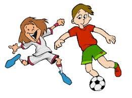 boy and girl kicking soccer ball