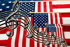 American flag layered with music notes