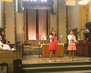 Student performing at church